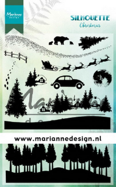 Marianne design, Clear stamp - Silhouette Christmas CS1040 1110x150mm
