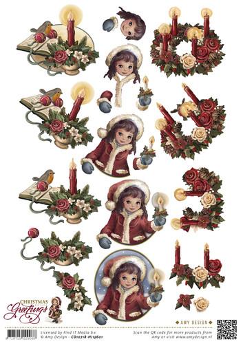 3D Knipvel - Christmas Greetings - Kerstkaarsen