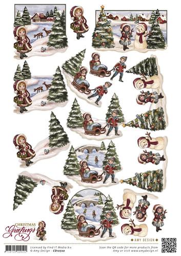 3D Knipvel - Christmas Greetings - Kerstlandschap