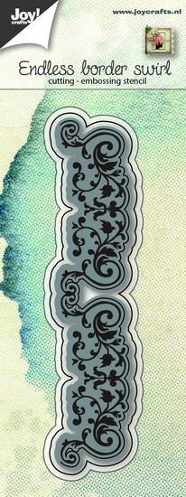 Joy Crafts - Joy! stencil eindeloze rand met swirls  6002/0650