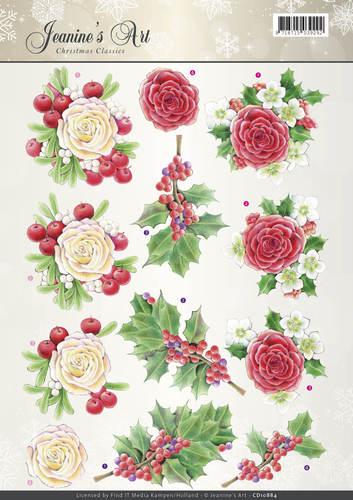 3D Knipvel - Jeanines Art - Christmas Classics - Rose