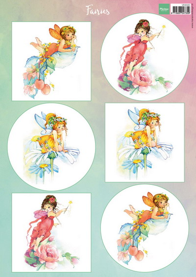 Marianne design, A4 knipvel bloemen elfjes 2 VK9560