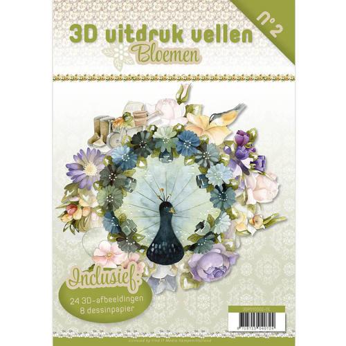 3D uitdruk vellen boek bloemen