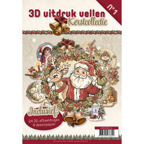 3D uitdruk vellen boek kerst nr 1
