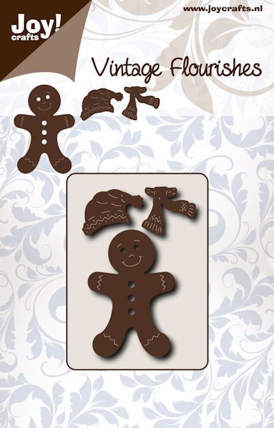 Joy Crafts - Joy! stencil vintage flourishes gingerbread mannetje