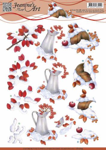 3D Knipvel - Jeanine's Art - Winter berries