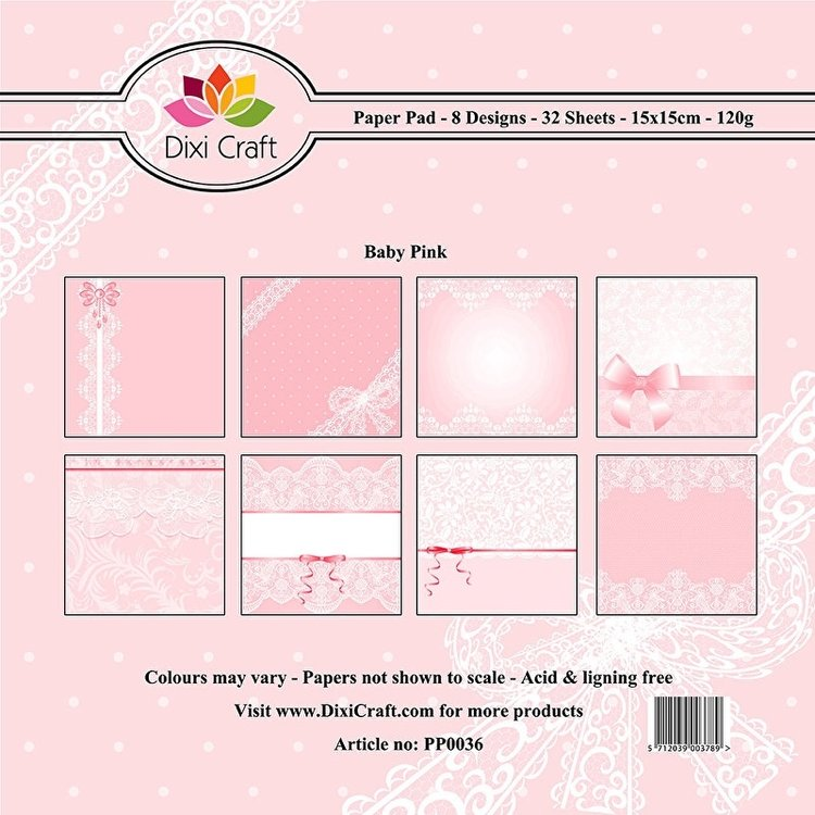 Dixi Paper Pack 15x15 cm background-baby pink (pp0036)
