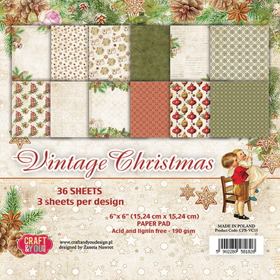 Small paper pad 6x6 Vintage Christmas