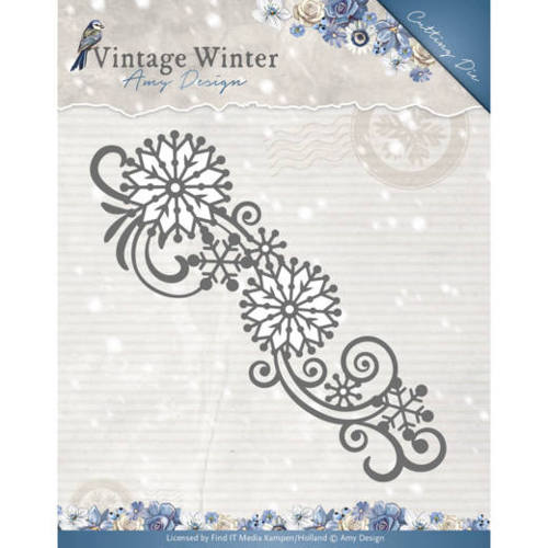 Die - Amy Design - Vintage Winter - Snowflake Swirl Border