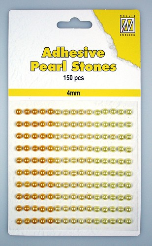 150 Adhesive pearls 4mm 3-colors - Yellow/gold