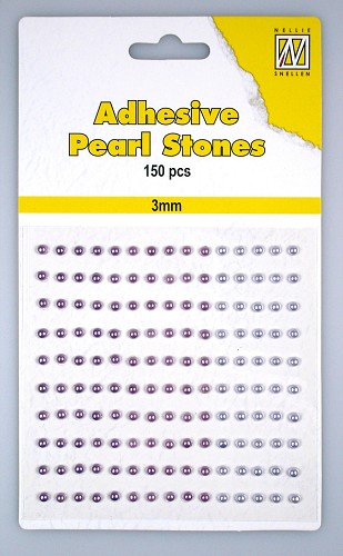 150 Adhesive pearls 3mm, 3-colors - Purple