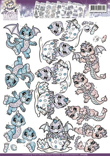 3D Knipvel - Yvonne Creations - Magical winter - Dragons cd10589