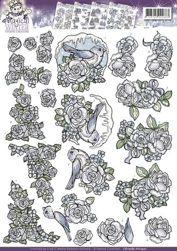 3D Knipvel - Yvonne Creations - Magical winter - Flowers  cd10585