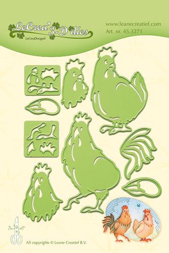 LCR45.3271 - Leabilitie® Rooster & Hen snij en embossing mal