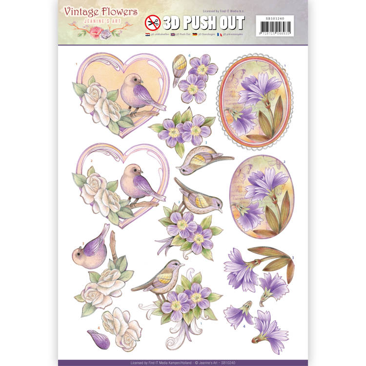 Pushout - Jeanine's Art - Vintage Flowers - Pale Violet