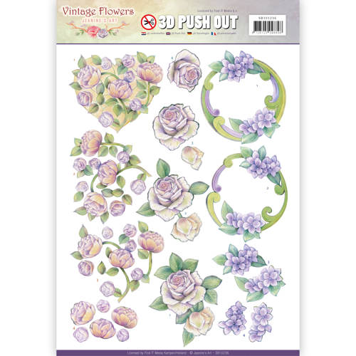 Pushout - Jeanine's Art - Vintage Flowers - Romantic Purple