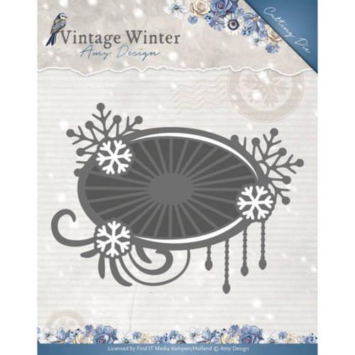 Die - Amy Design - Vintage Winter - Snowflake Swirl Label