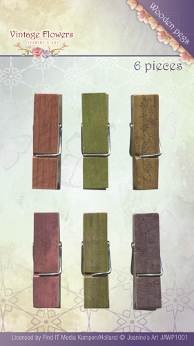Jeanine's Art - Vintage Flowers - Wooden Pegs