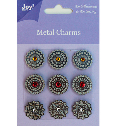 Joy! crafts - Metal Charms - Rond met strass steentjes - 6350/0103
