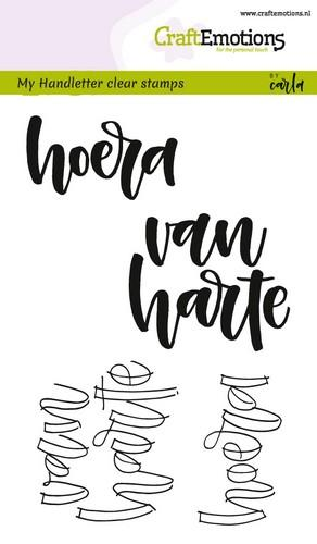 130501/1823 CraftEmotions clearstamps A6 - handletter - hoera van harte (NL