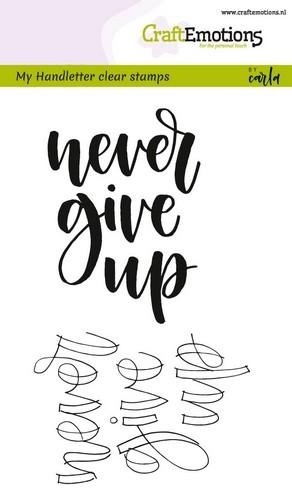 130501/1803 CraftEmotions clearstamps A6 - handletter - never give up (Eng