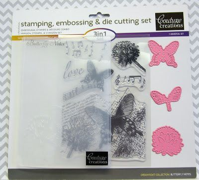 Butterfly notes stamping, embossing & die cut set