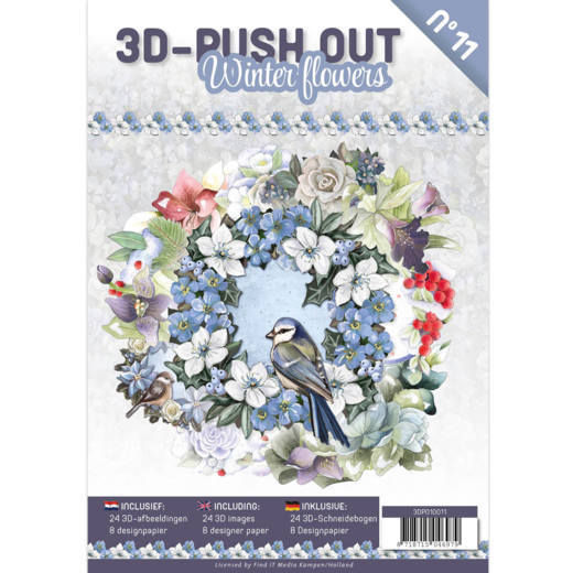 3D Push Out Book Winter Flowers 3DPO10011