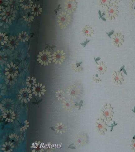 Blauw met bloementjes