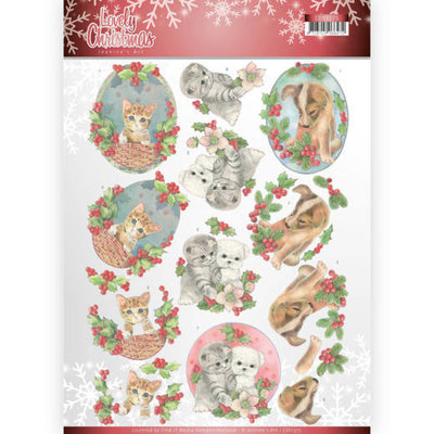 CD11375 3D Knipvel - Jeanine's Art - Lovely Christmas - Lovely Christmas Pets