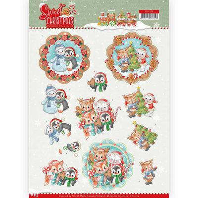 CD11374 3D Knipvel - Yvonne Creations - Sweet Christmas - Sweet Winter Animals