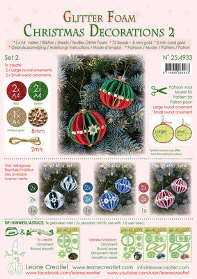 254.933 Glitter Foam Kerstbal decoratie Set 2, 5 vel A4