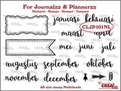 Crealies - Journalzz & Pl - Stempels - maanden NL CLJP101NL A6