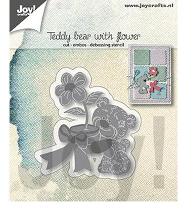 Joy! stencil- Teddybeer met bloem-6002/1307