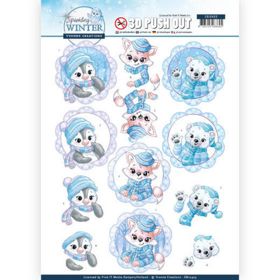 SB10403 3D Pushout - Yvonne Creations - Sparkling Winter - Winter Friends