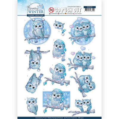 SB10402 3D Pushout - Yvonne Creations - Sparkling Winter - Winter Owls
