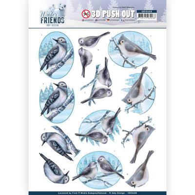 SB10408 3D Pushout - Amy Design - Winter Friends - Sparkling Birds