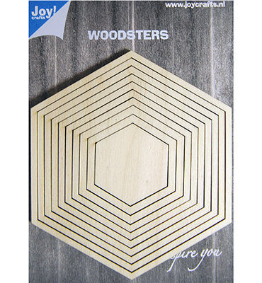Joy craft - Deco-schudkaart hexagon - woodsters 6320/0012