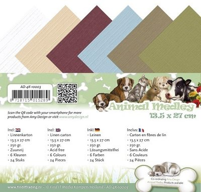 Animal Medley Linnenpaket vierkante kaart