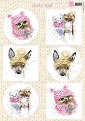 Marianne design, knipvel winter wool pink