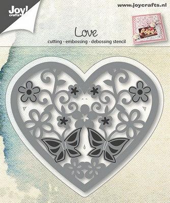 Joy! stencil hart met bloemen en vlinders  6002/0664