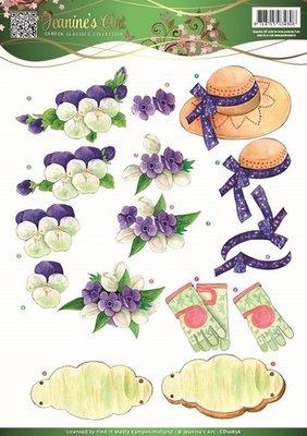 Jeanines Art - Garden Classics - 3D Knipvel - Purple Flowers