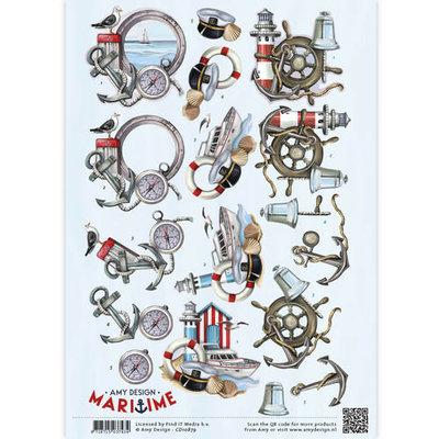 3D Knipvel -  Maritime - Zee elementen cd10879