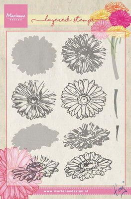 Marianne design, Clear Stamp - Tiny's gerbera (layering)