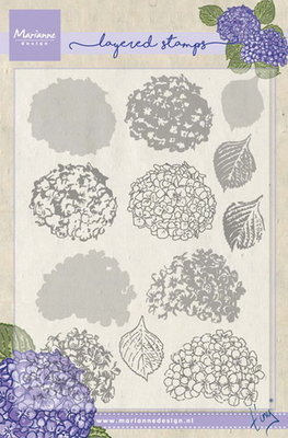 Marianne design, Clear Stamp - Tiny's hydrangea (layering)