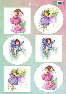 Marianne design, A4 knipvel bloemen elfjes 1 VK9559