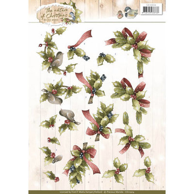 3D Knipvel - Precious Marieke - The Nature of Christmas - Christmas Holly