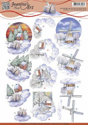3D Knipvel - Jeanine's Art - Winter landscape