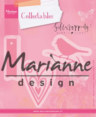 Marianne desgn, Collectables Giftwrapping - Karen's bird, hearts & tag