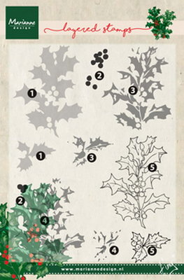 Marianne design, Clear Stamp Tiny's holly  (layering)
