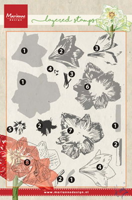 Marianne design, Clear Stamp Tiny's amaryllis  (layering)
